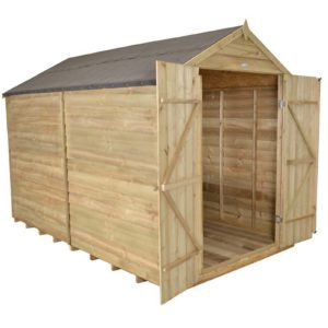 10x8ft Forest Wooden Overlap Pressure Treated Apex Shed -incl. Installation