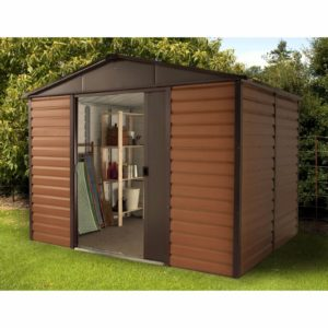 10x8ft Yardmaster Woodgrain Metal Shed