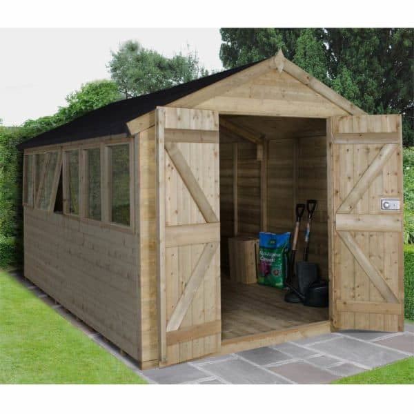 12x8ft Forest T&G Pressure Treated Double Door Apex Shed - incl. Installation