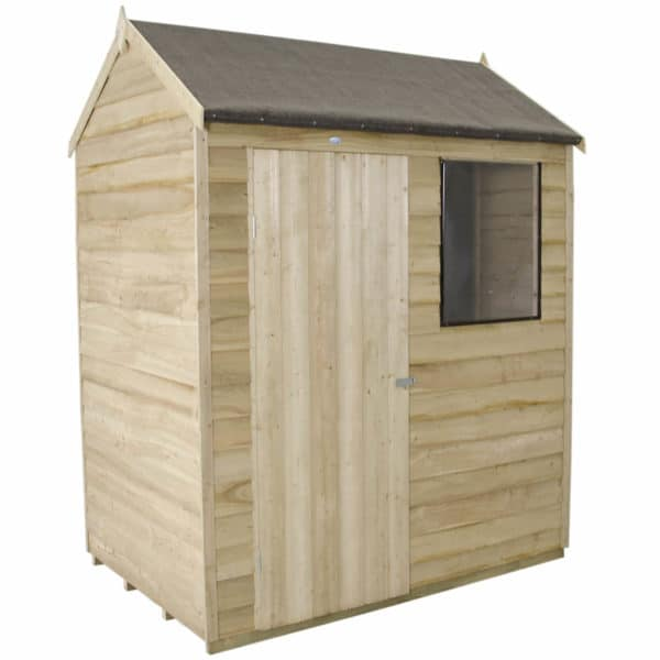 6x4ft Forest Natural Timber Overlap Reverse Apex Wooden Shed