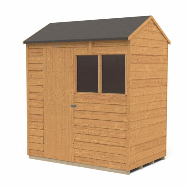 6x4ft Forest Overlap Dip Treated Reverse Apex Shed - Installation Included