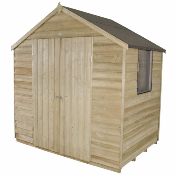 7x5ft Forest Natural Timber Overlap Apex Pressure Treated Wooden Shed