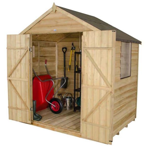 7x5ft Forest Wooden Overlap Pressure Treated Apex Shed -incl. Installation