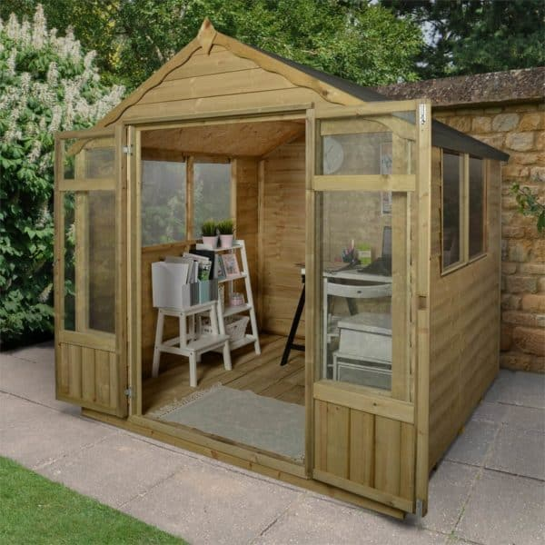 7x7ft Forest Oakley Overlap Dip Treated Double Door Apex Shed/Summerhouse - incl. Installation