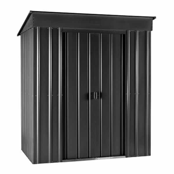 8x4ft Lotus Metal Pent Shed Anthracite Grey