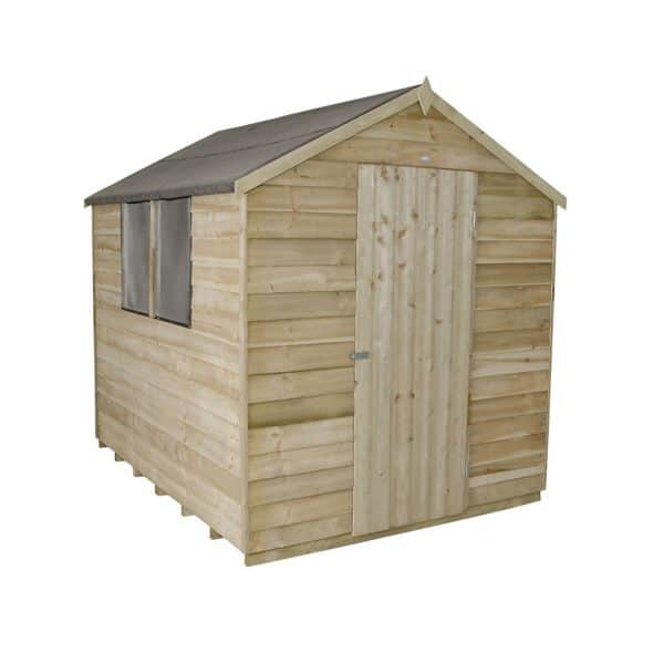 8x6ft Forest Natural Timber Overlap Apex Pressure Treated Wooden Shed