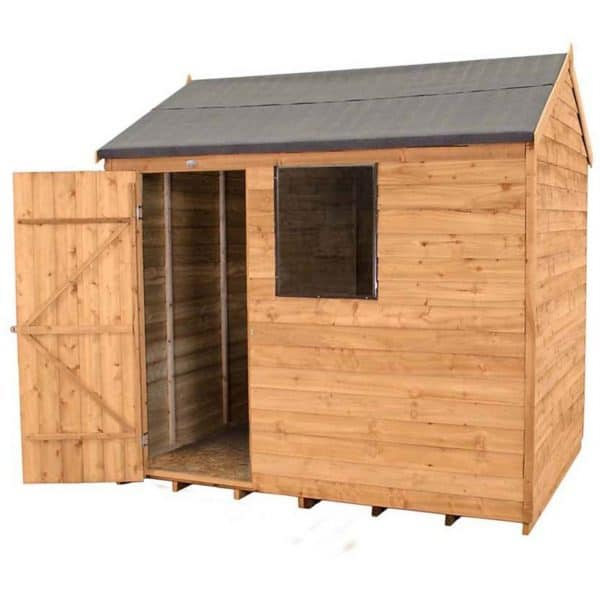 8x6ft Forest Overlap Dip Treated Reverse Apex Shed - incl. Installation