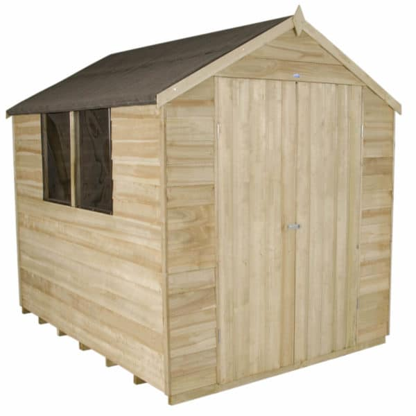 8x6ft- Forest Overlap Pressure Treated Apex Shed - Double Door