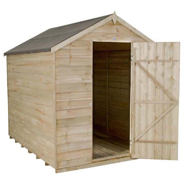 8x6ft Forest Wooden Overlap Pressure Treated Apex Shed -incl. Installation