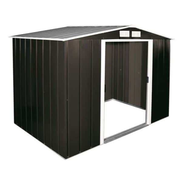 8x6ft Sapphire Apex Metal Shed Anthracite