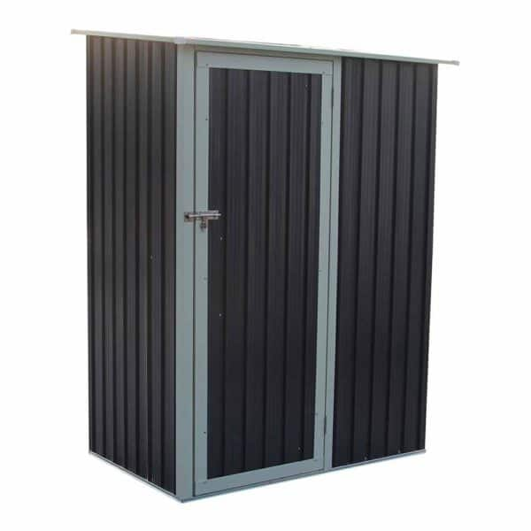 Charles Bentley 4.7ft x 3ft Metal Storage Shed Grey