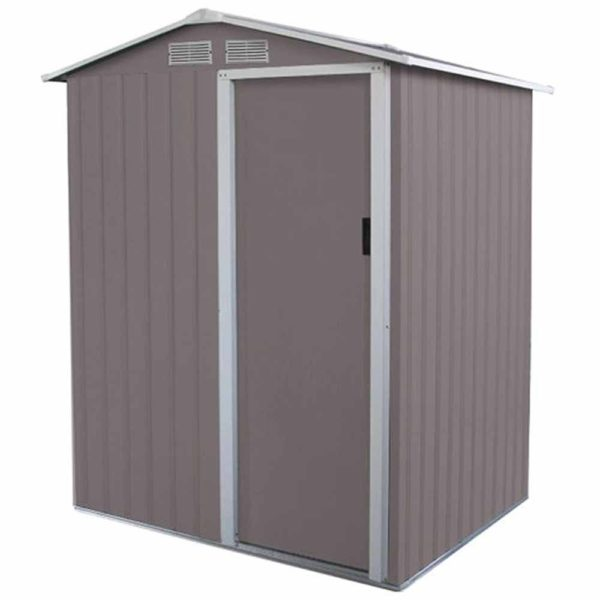 Charles Bentley 4.9ft x 4.3ft Metal Storage Shed Warm Grey