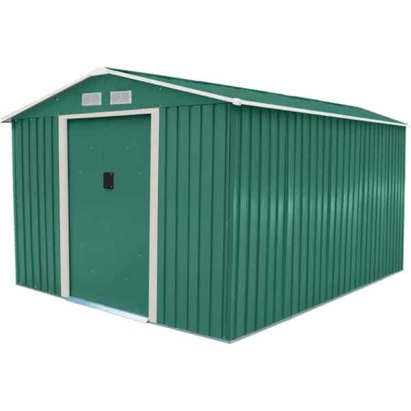 Charles Bentley 8ft x 10ft Metal Garden Shed With Floor Foundation - Green