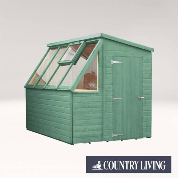 Country Living Caythorpe 8 x 6 Premium Potting Shed Painted + Installation - Aurora Green