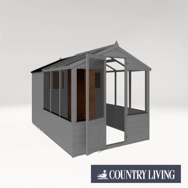 Country Living Grassthorpe 10 x 6 Traditional Apex Greenhouse Combi Shed Painted + Installation - Thorpe Towers