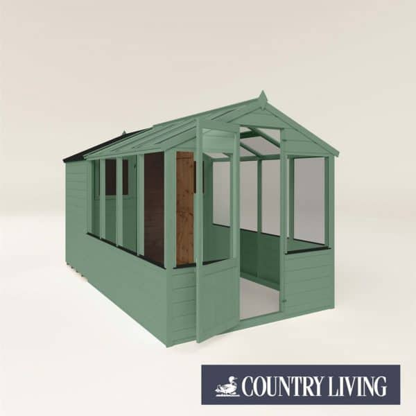 Country Living Grassthorpe 12 x 6 Traditional Apex Greenhouse Combi Shed Painted + Installation - Aurora Green