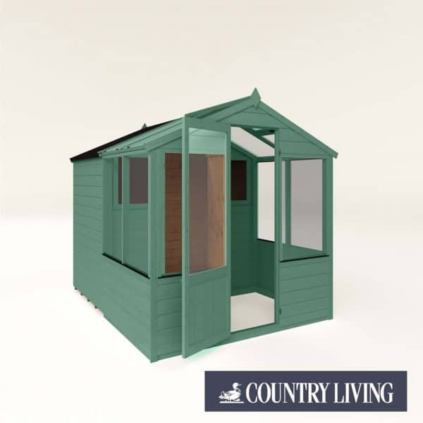Country Living Grassthorpe 8 x 6 Traditional Apex Greenhouse Combi Shed Painted + Installation - Aurora Green
