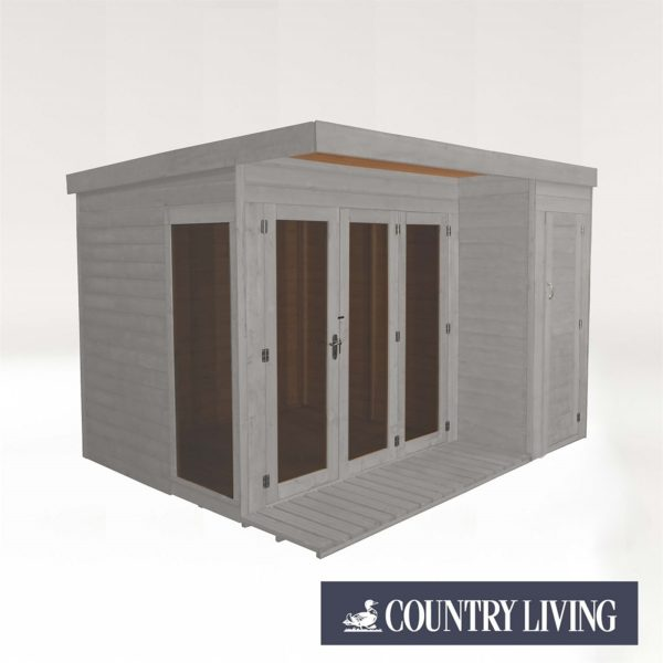 Country Living Overton 10 x 8 Premium Garden Room Summerhouse With Side Shed Painted + Installation - Thorpe Towers