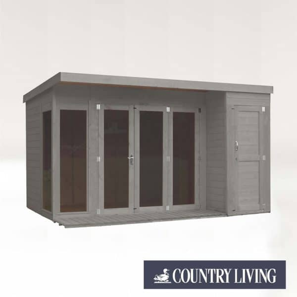 Country Living Overton 12 x 8 Premium Garden Room Summerhouse With Side Shed Painted + Installation - Thorpe Towers