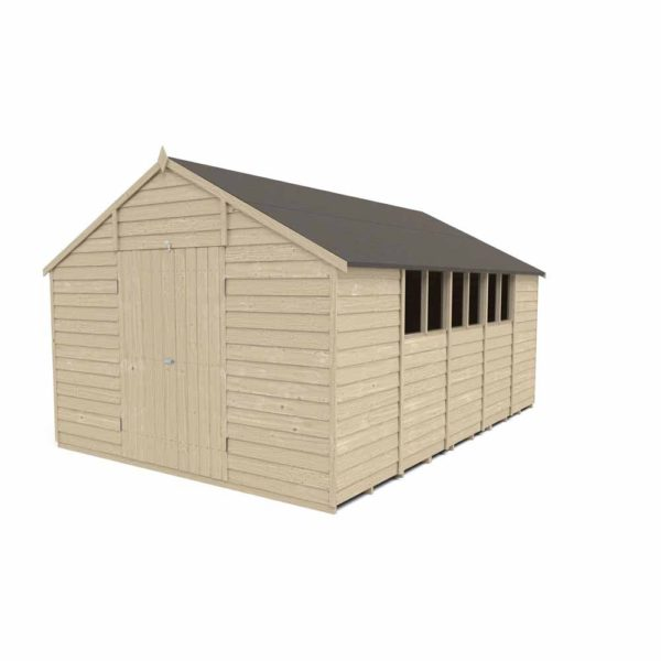 Forest Garden 10 x 15ft Overlap Pressure Treated Double Door Apex Garden Shed Mixed Softwood