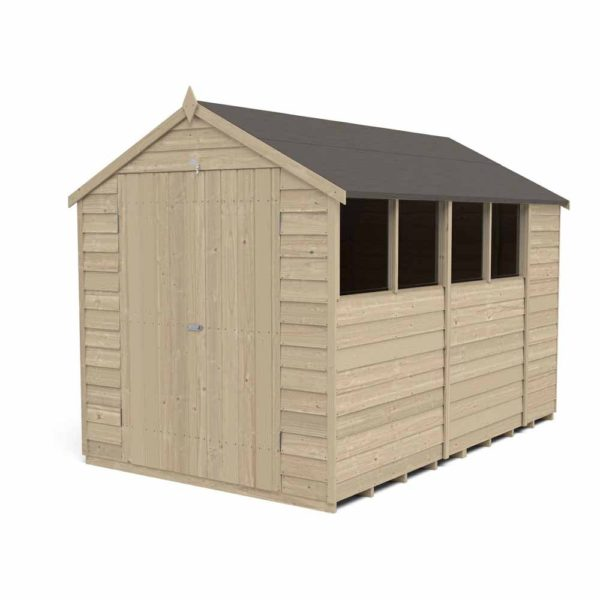 Forest Garden 10 x 6ft Overlap Pressure Treated Double Door Apex Garden Shed Mixed Softwood