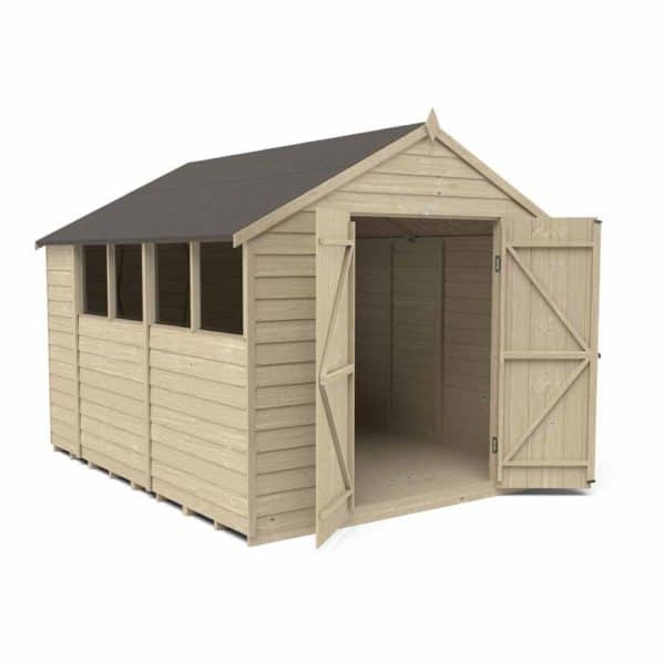 Forest Garden 10 x 8ft Overlap Pressure Treated Double Door Apex Garden Shed Mixed Softwood