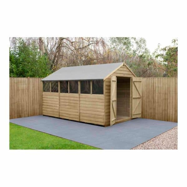 Forest Garden 12 x 8ft Overlap Pressure Treated Double Door Apex Garden Shed Mixed Softwood