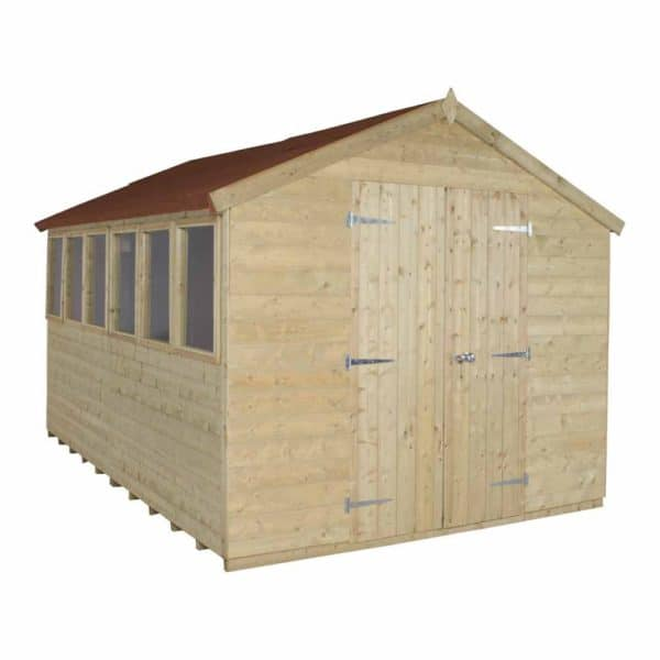 Forest Garden 12 x 8ft Tongue & Groove Pressure Treated Double Door Apex Garden Shed Mixed Softwood