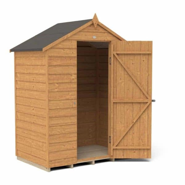 Forest Garden 5 x 3ft Overlap Dip Treated Apex Garden Shed, No Window Mixed Softwood