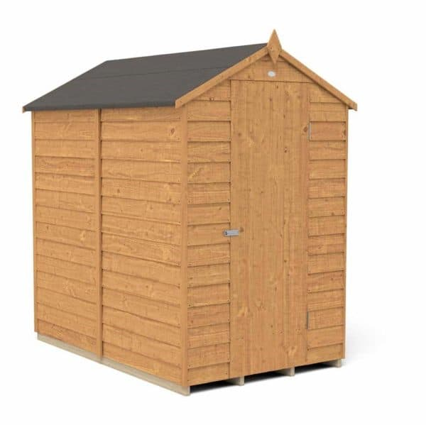 Forest Garden 6 x 4ft Overlap Dip Treated Apex Garden Shed, No Window Mixed Softwood
