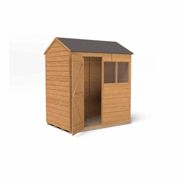 Forest Garden 6 x 4ft Overlap Dip Treated Reverse Apex Garden Shed Mixed Softwood