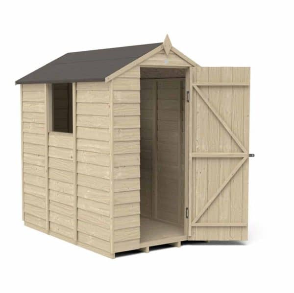 Forest Garden 6 x 4ft Overlap Pressure Treated Apex Garden Shed Mixed Softwood