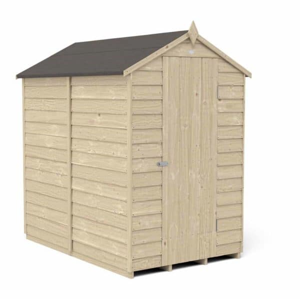 Forest Garden 6 x 4ft Overlap Pressure Treated Apex Garden Shed, No Window Mixed Softwood