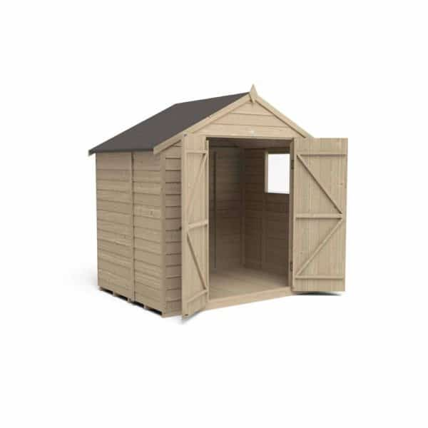Forest Garden 7 x 5ft Overlap Pressure Treated Double Door Apex Garden Shed Mixed Softwood