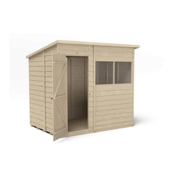 Forest Garden 7 x 5ft Overlap Pressure Treated Pent Garden Shed Mixed Softwood