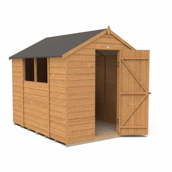 Forest Garden 8 x 6ft Overlap Dip Treated Apex Garden Shed Mixed Softwood