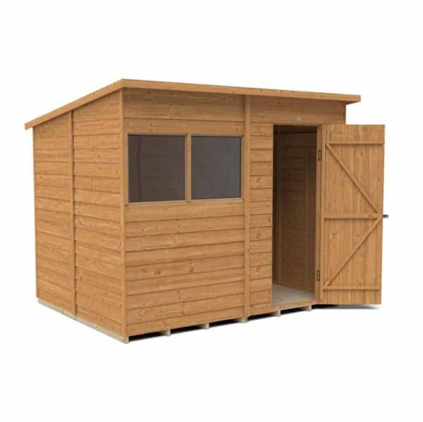 Forest Garden 8 x 6ft Overlap Dip Treated Pent Garden Shed Mixed Softwood