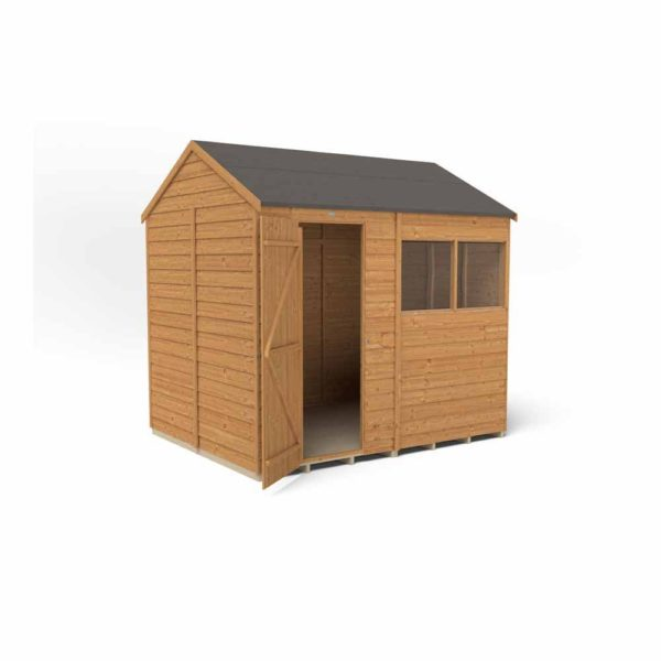Forest Garden 8 x 6ft Overlap Dip Treated Reverse Apex Garden Shed Mixed Softwood