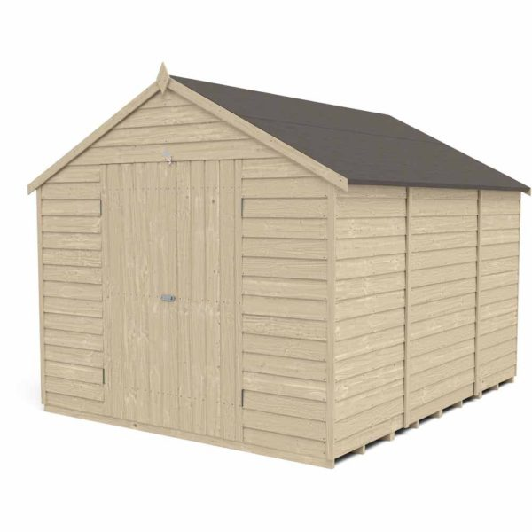 Forest Garden Forest Overlap Press Treat 10x8 Apex Shed Double Door No Windows Wood