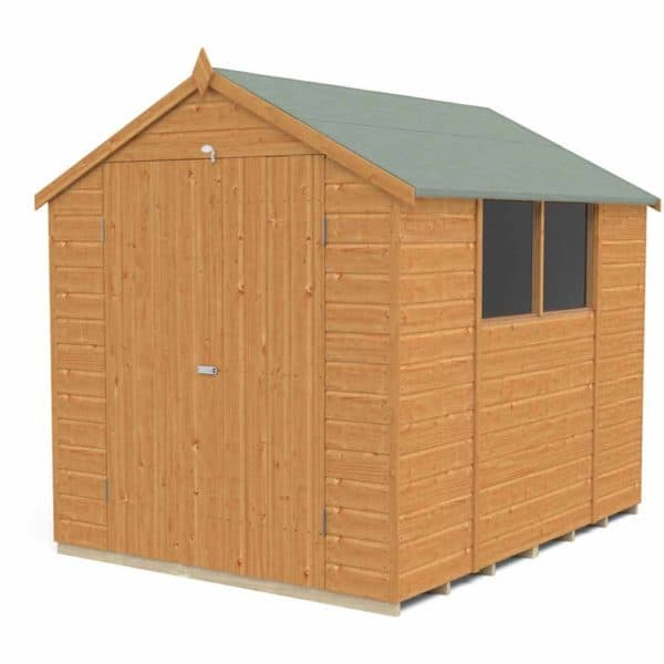 Forest Garden Forest Shiplap Dip Treat 8x6 Apex Shed Double Door Wood