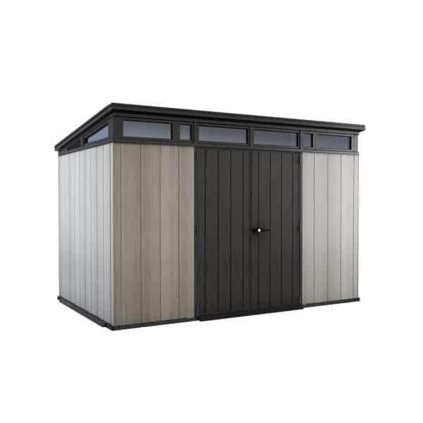 Keter Artisan Outdoor Garden Storage Pent Shed, 11x7ft Grey