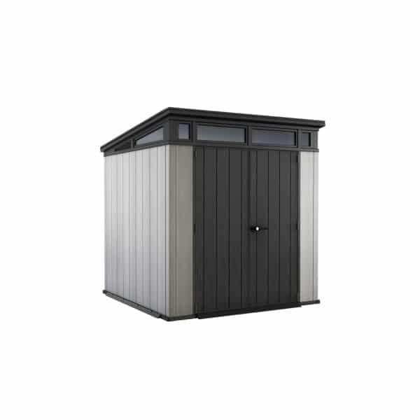 Keter Artisan Outdoor Garden Storage Pent Shed, 7x7ft Grey
