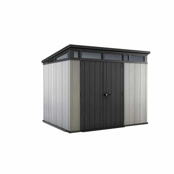 Keter Artisan Outdoor Garden Storage Pent Shed, 9x7ft Grey