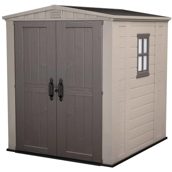 Keter Factor Outdoor Garden Storage Shed 6x6ft Beige/Brown