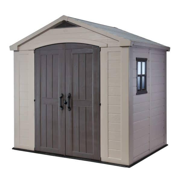 Keter Factor Outdoor Garden Storage Shed 8x6ft Beige/Brown