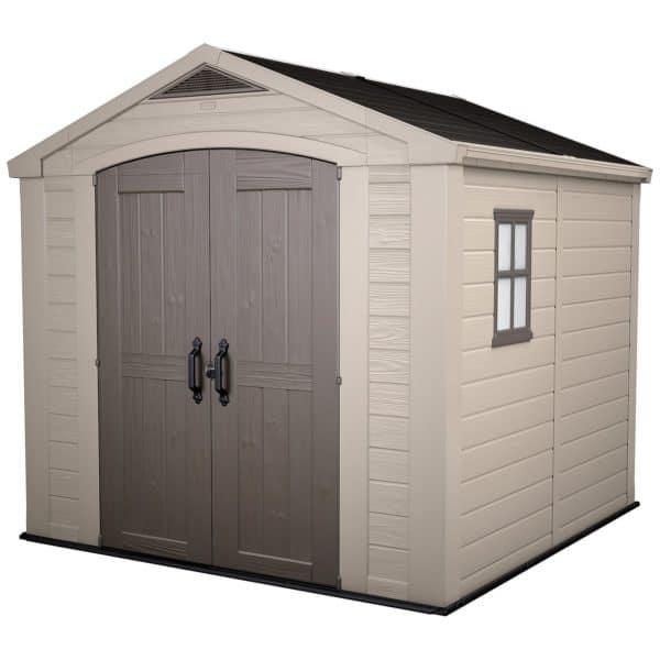 Keter Factor Outdoor Garden Storage Shed 8x8ft Beige/Brown