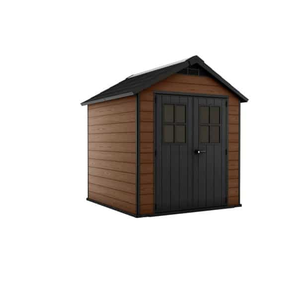 Keter Newton Outdoor Garden Storage Shed 7.5x7ft Brown