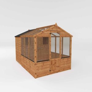 Mercia Garden Products Mercia 10 x 6ft Traditional Greenhouse Combi Shed Wood
