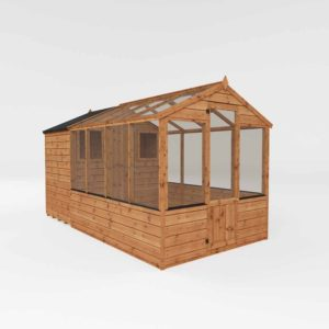 Mercia Garden Products Mercia 12 x 6ft Traditional Greenhouse Combi Shed Wood