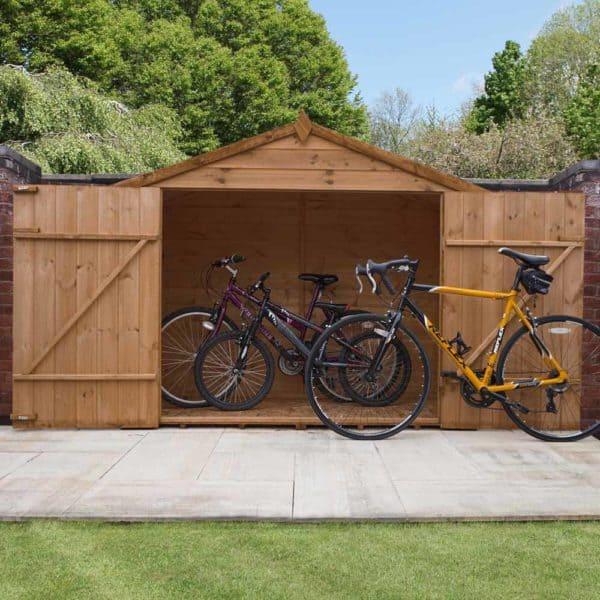 Mercia Garden Products Mercia 3 x 7ft Pressure Treated Shiplap Apex Bike Storage Shed Wood